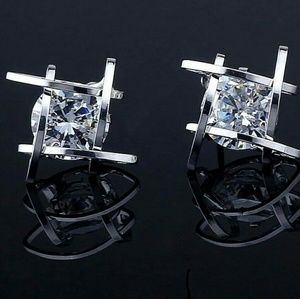 Silver Diamond Stone Stud Cubed Earrings